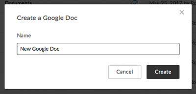 Naming the new Google Doc as you create it