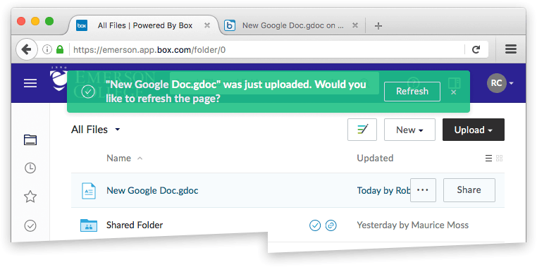 New Google Doc file added to your Box folder