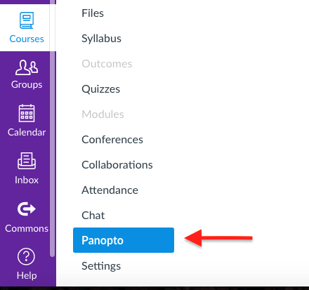 Click the Panopto button in Canvas.