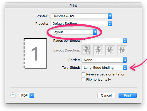 Long-edge binding duplex turned on in a typical Mac OS X print dialog.