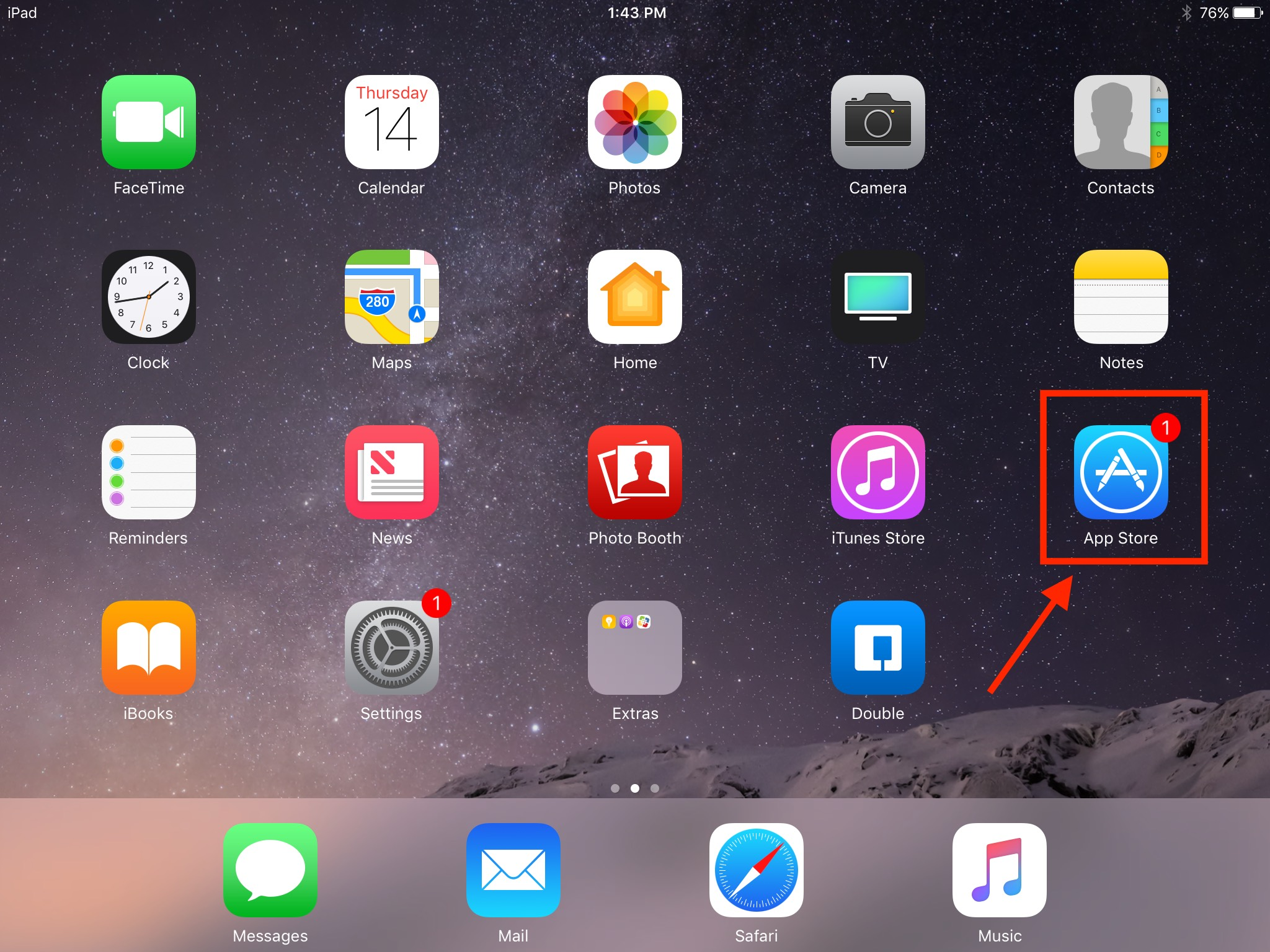 The app store's icon on an iPad display.