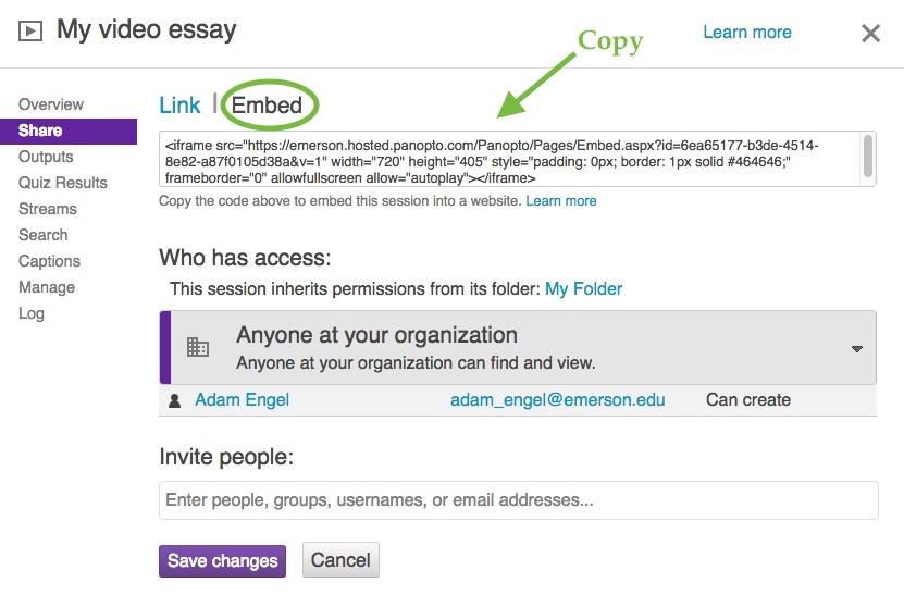 Embed a Panopto Video in WordPress – Emerson IT Help Desk