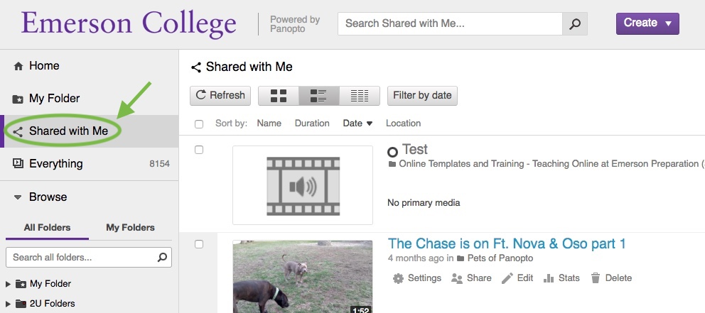 See content that has been shared with you in the Shared with Me section.