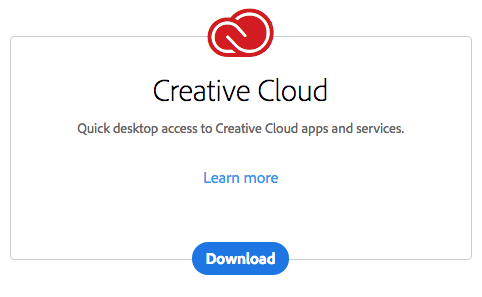 Creative Cloud Download page