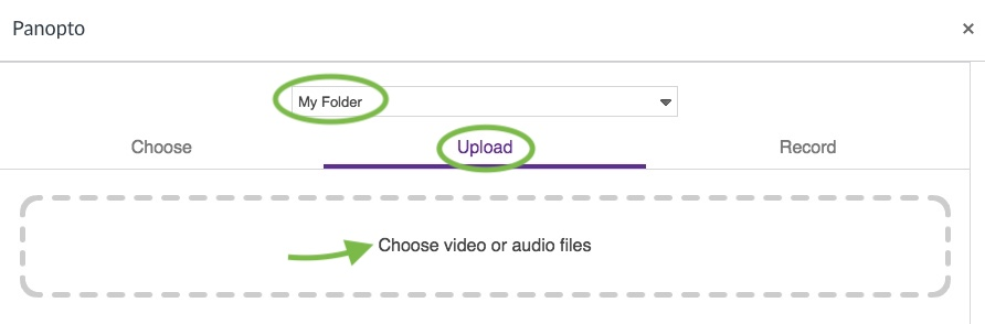 You can upload and record from the embed interface.