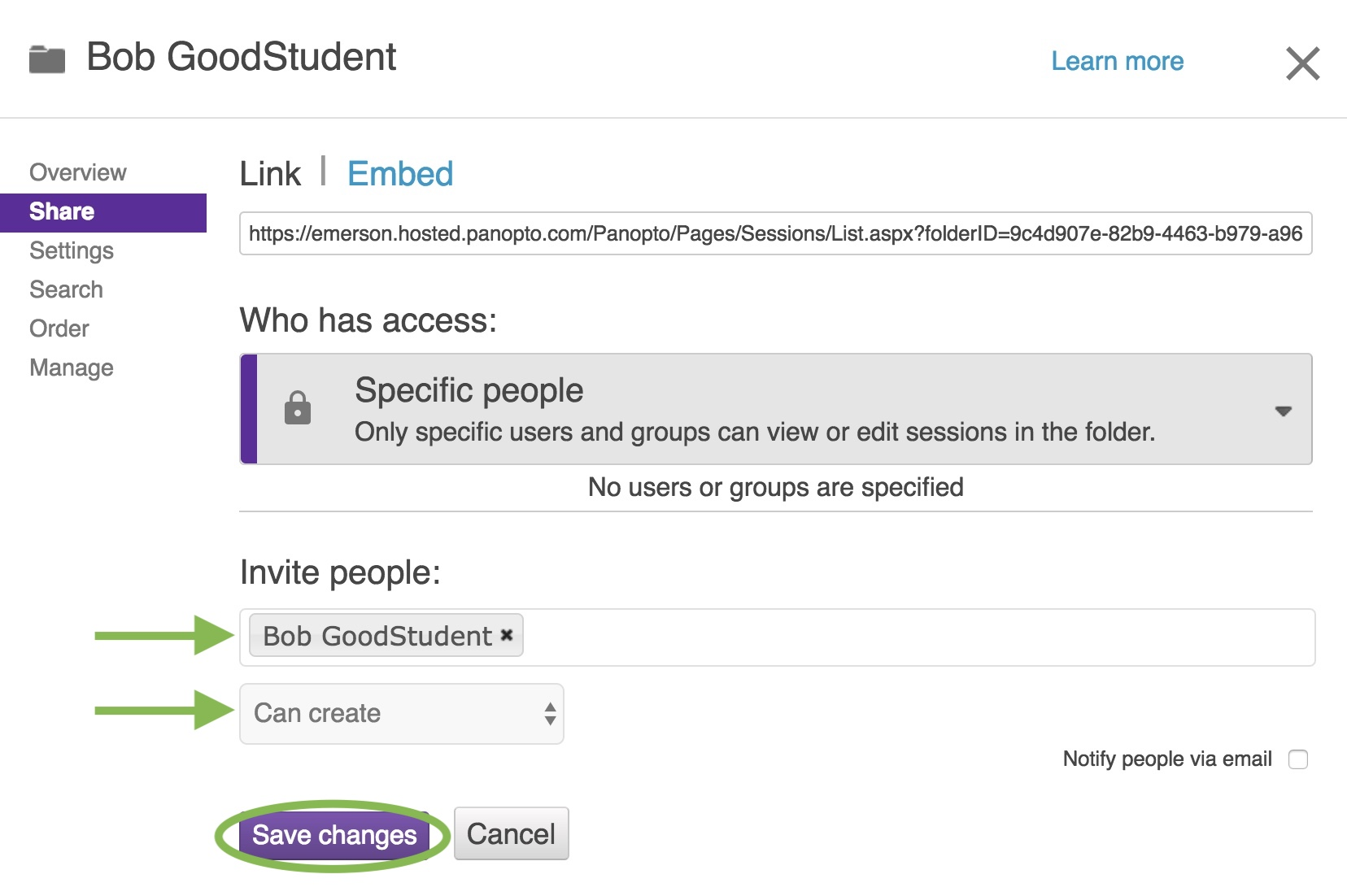 Add specific students to the folder in its sharing settings.