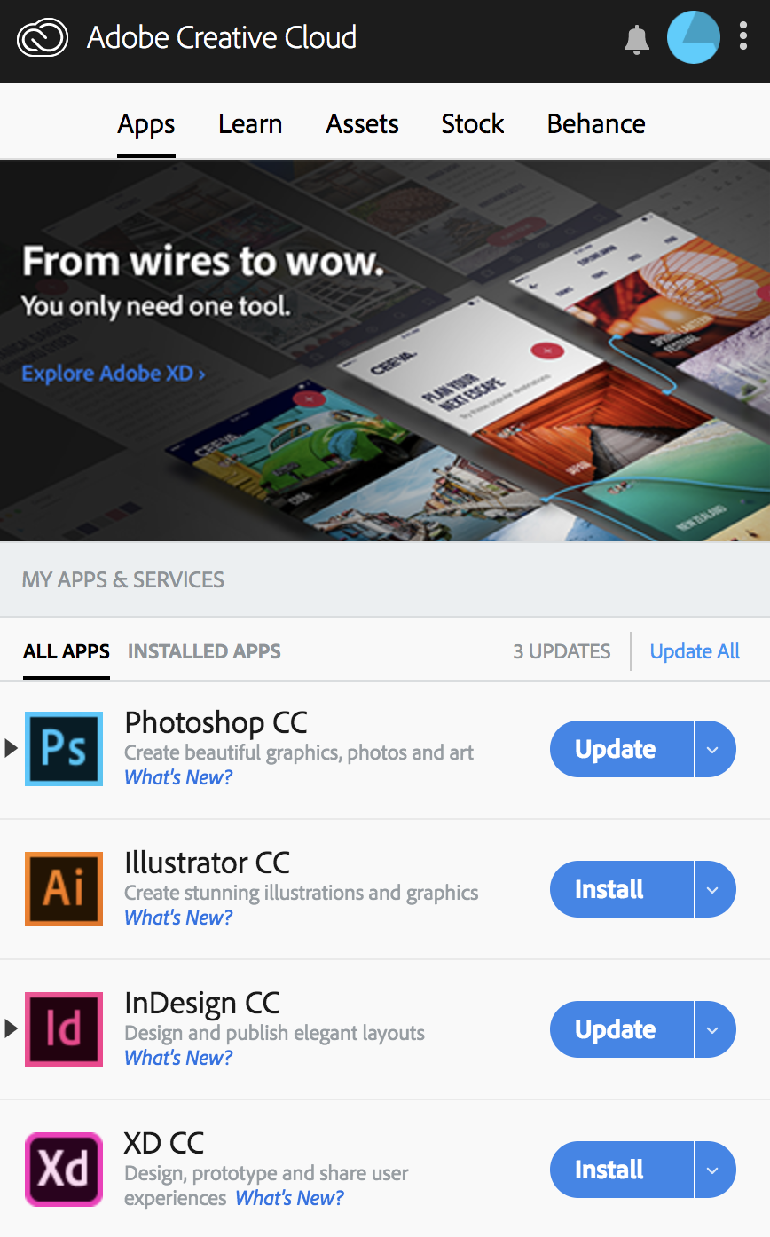 Adobe Creative Cloud Desktop page