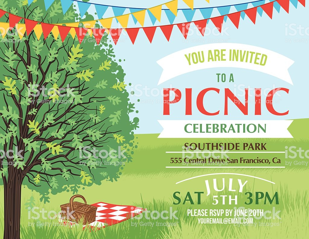 An invitation for a picnic. The text is part of the image.