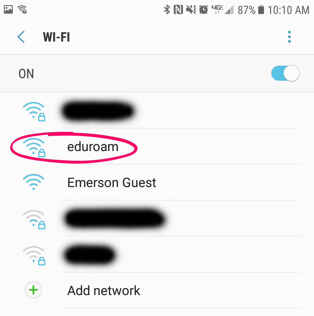 Android wi-fi networks list with eduroam highlighted