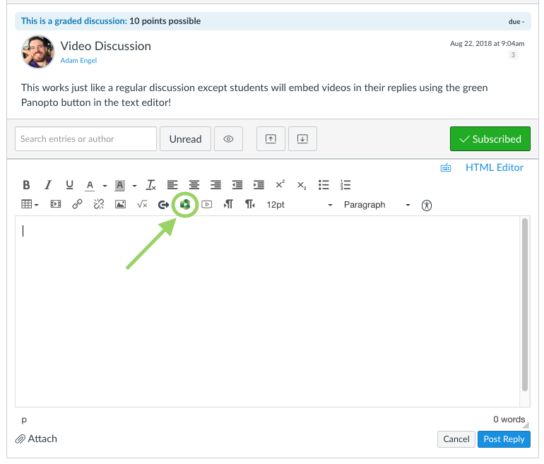 The text-editor box that appears when the user clicks Reply in a discussion. The green Panopto button is circled with an arrow pointing to it.