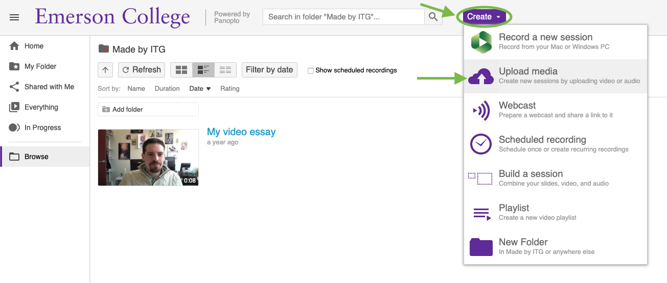 The Create button and Upload media option in the Panopto Web Portal.
