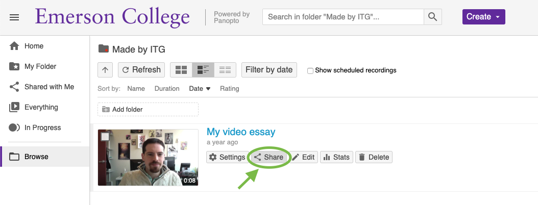 The revealed Share button under a video in the Panopto Web Portal.