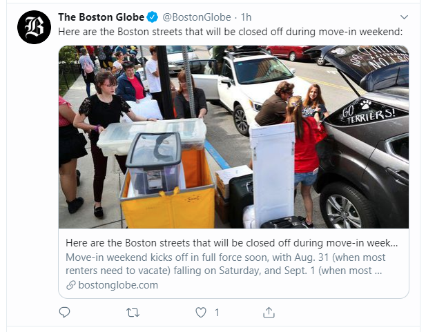 Tweet from the Boston Globe with a card previewing an image and description of the shared article.