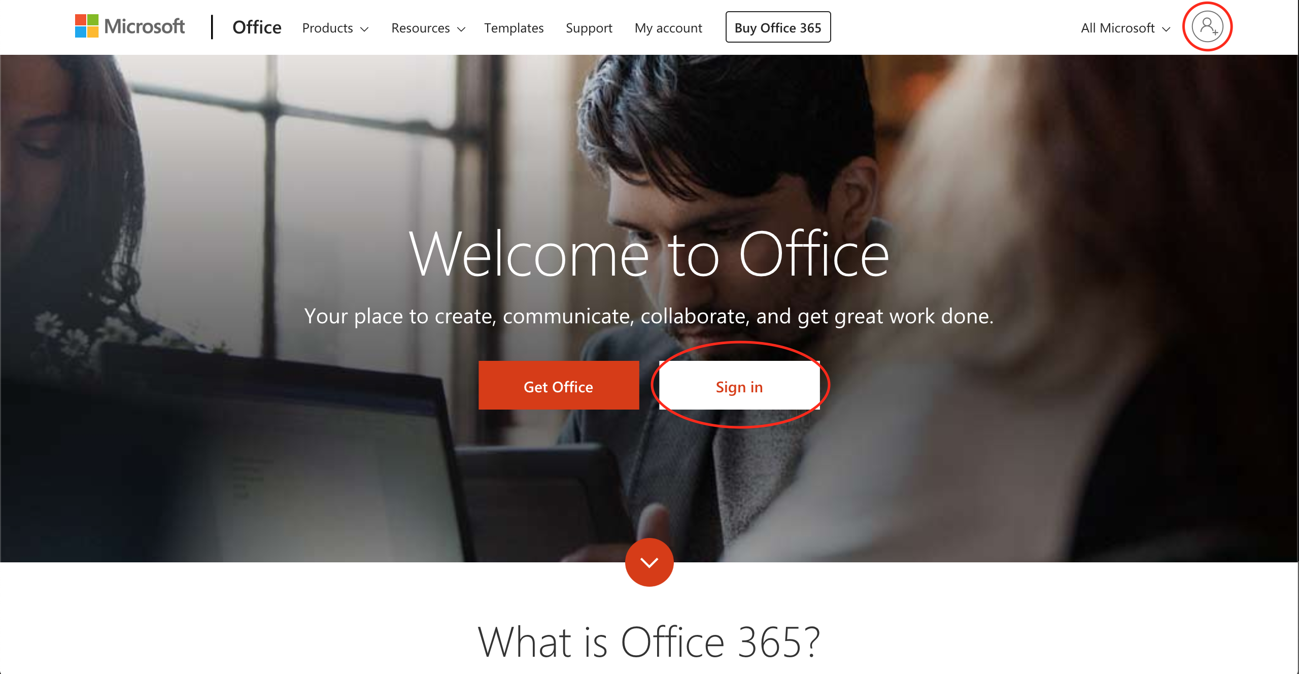 Microsoft Office online home page