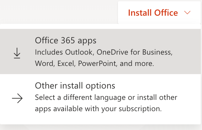 Microsoft Office Suite installation options