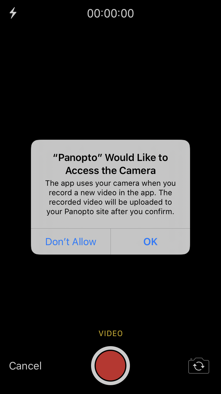 A screenshot of the message Panopto displays on your iOS device when you attempt to record for the first time upon downloading the app. The message reads, 'Panopto Would Like to Access the Camera' and you're given the option to click 'Don't Allow' or 'OK'.