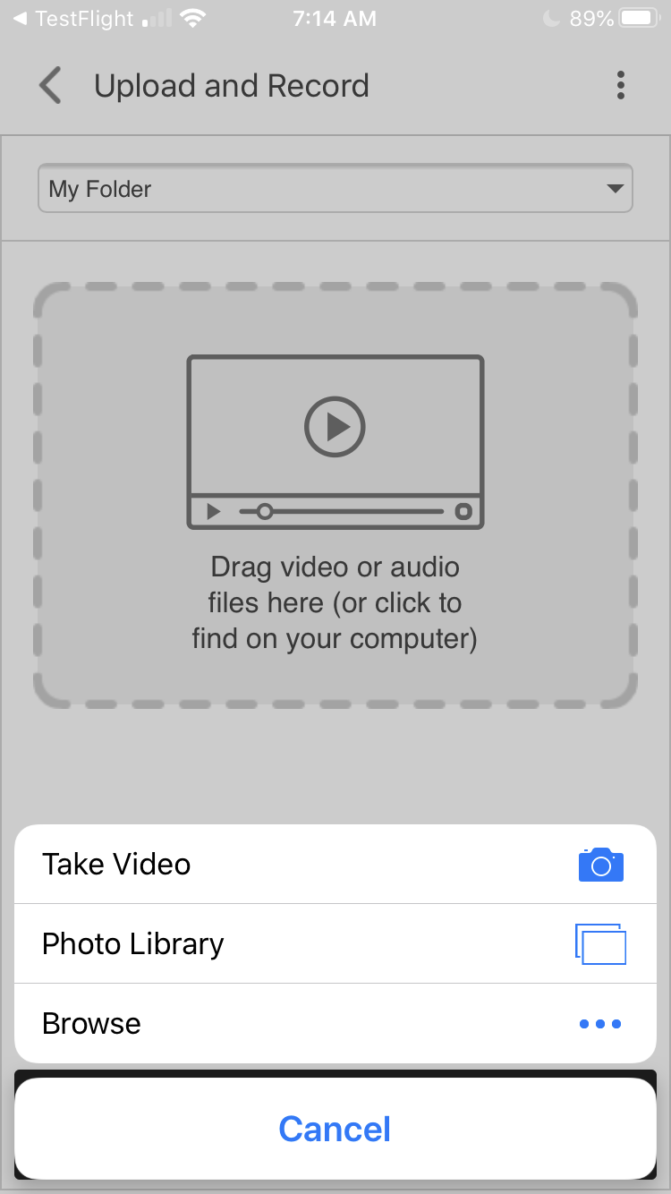If you click on the upload icon, the iOS Panopto app will prompt you with the following options: 'Take Video', 'Photo Library', and 'Browse'.
