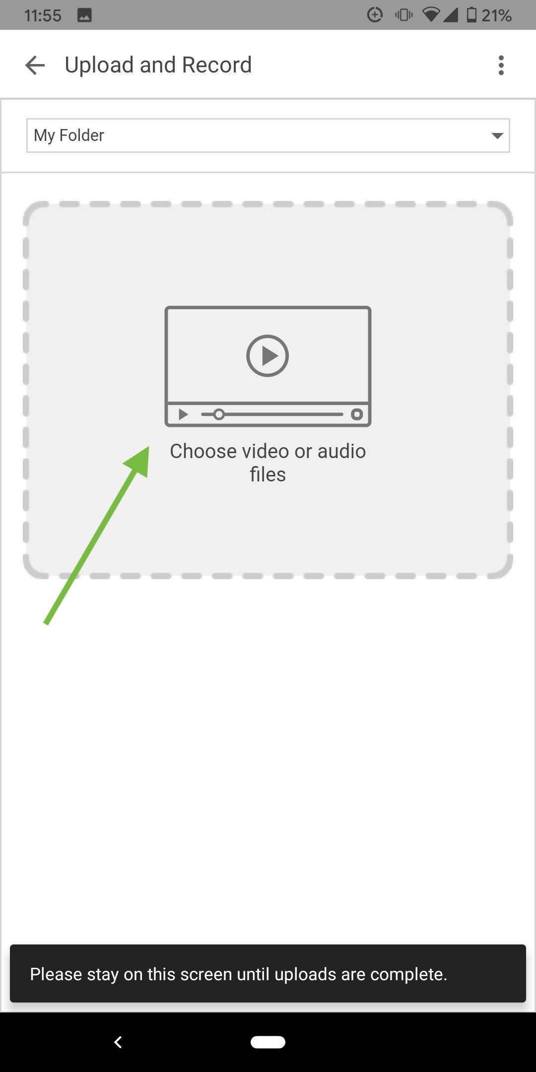 The Panopto beta app's upload screen, with the Choose Video or Audio File box indicated.
