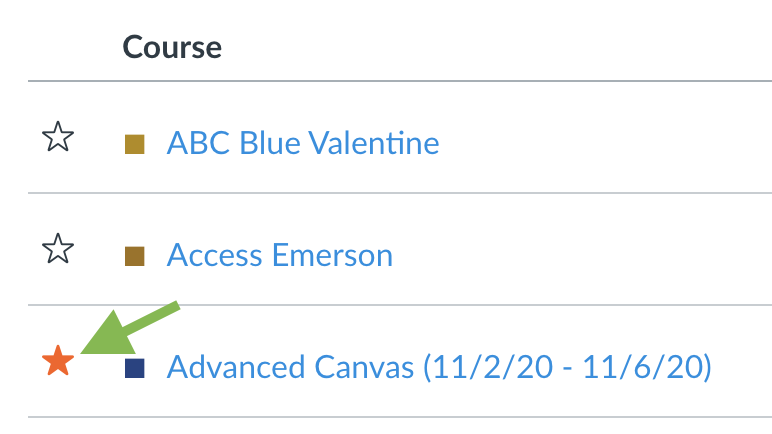 The All Courses section of a Canvas account, with two courses unstarred and one with an orange star to its left.