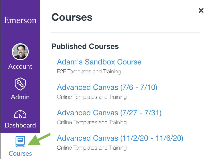 An expanded Courses Menu in Canvas, with an arrow indicating its icon.