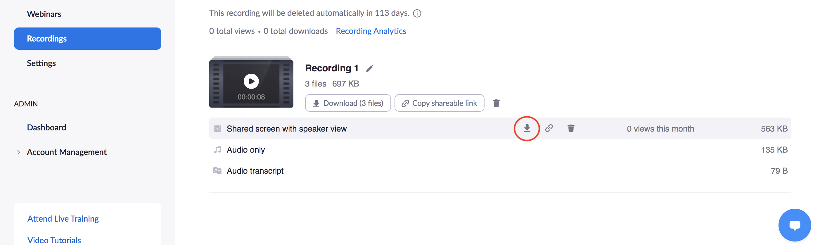 Recordings page showing circled Download icon