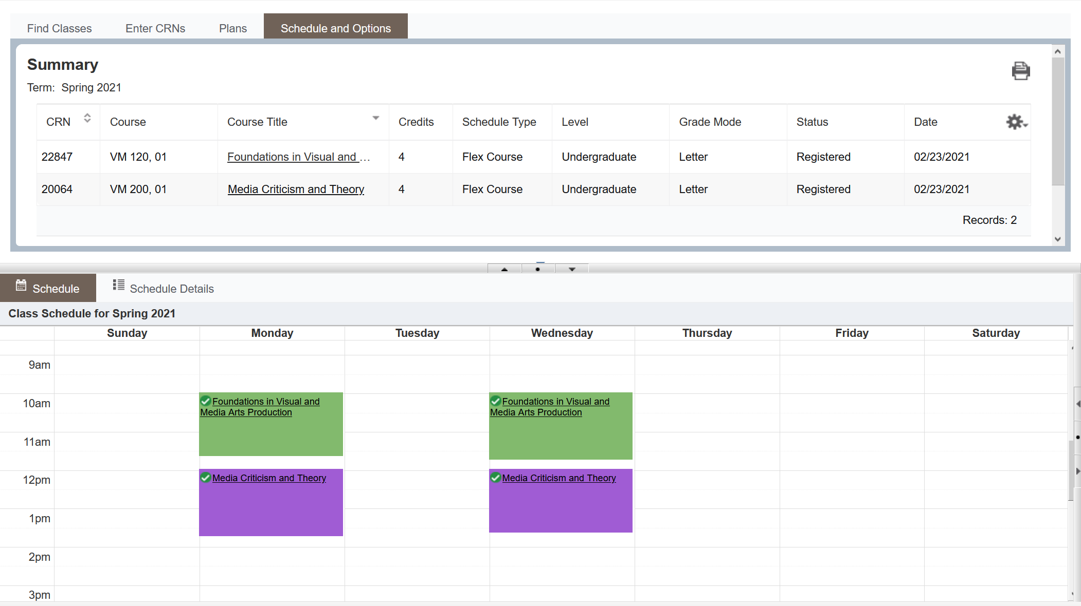 Screenshot of Schedule and Options page