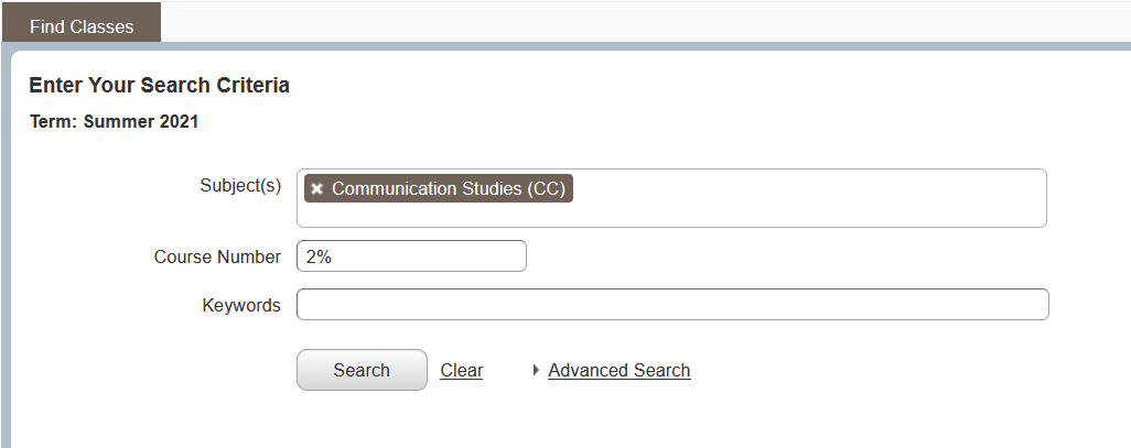 Basic search page with example search criteria for CC200