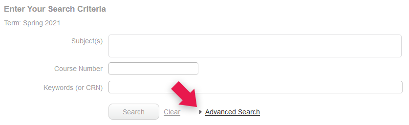 Screenshot to show the location of the Advanced Search link (below the subject, course number, and keyword fields)