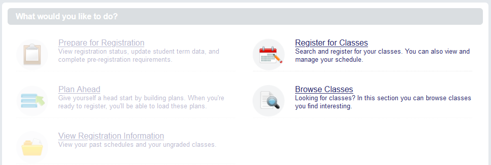 Screenshot of the main menu with Register for Classes and Browse Classes menu options emphasized
