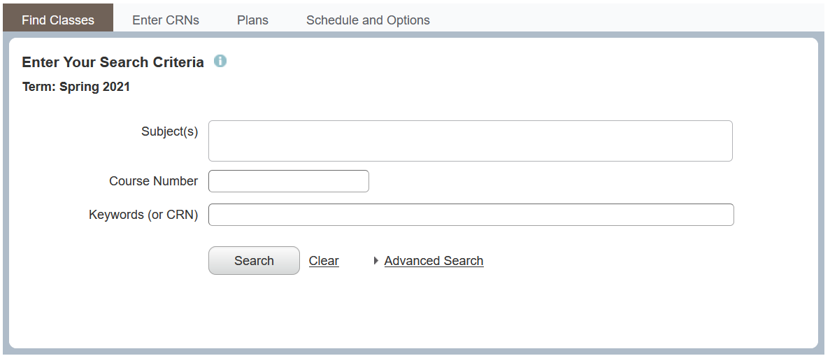 Screenshot of subject, course number, and keyword search