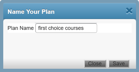 Screenshot of pop-up that is shown when you save your Plan