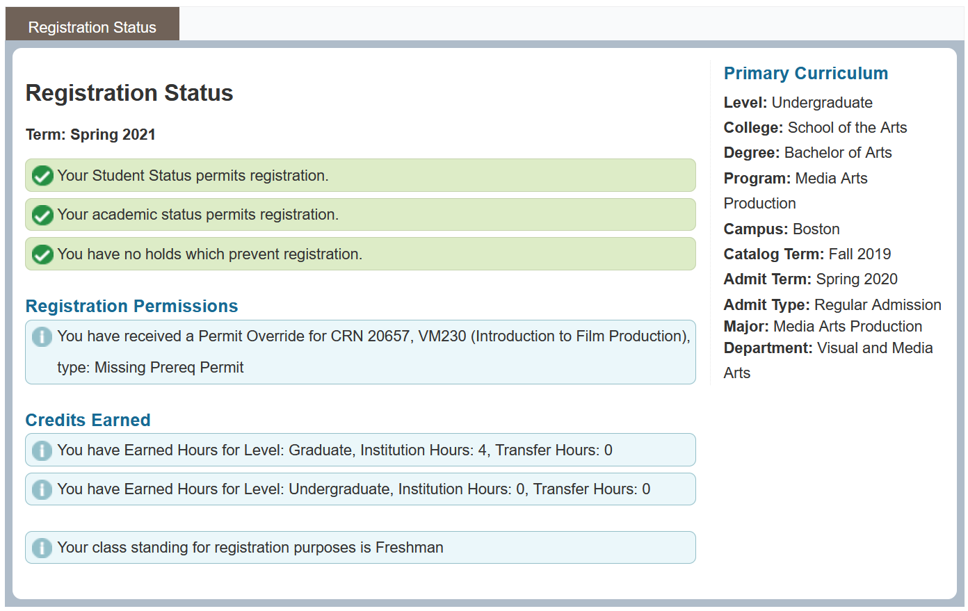 Screenshot of Prepare for Registration page