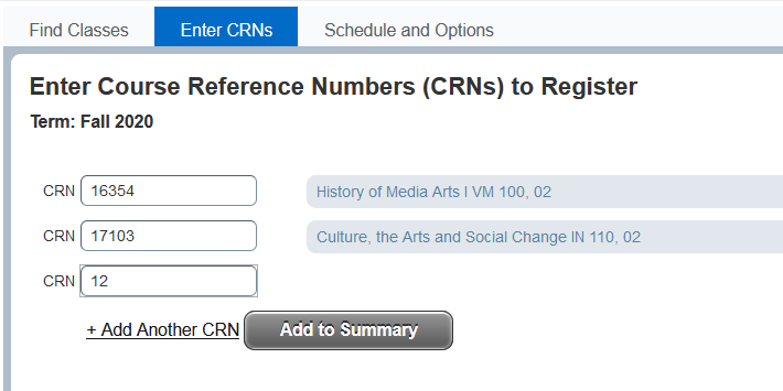 screenshot of Enter CRNs page