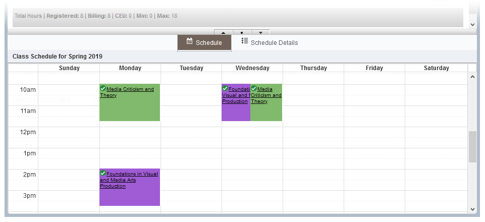 Screenshot of schedule in weekly calendar format