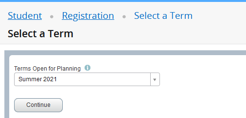 screenshot of page where you select a term that you would like to plan out