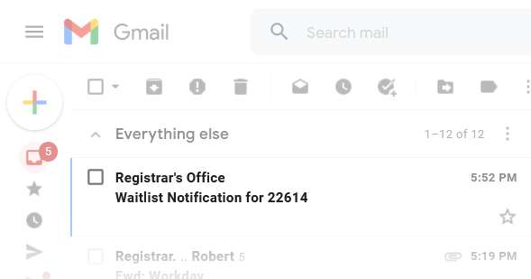 Screenshot of notification email to show subject line, Waitlist notification for (CRN).