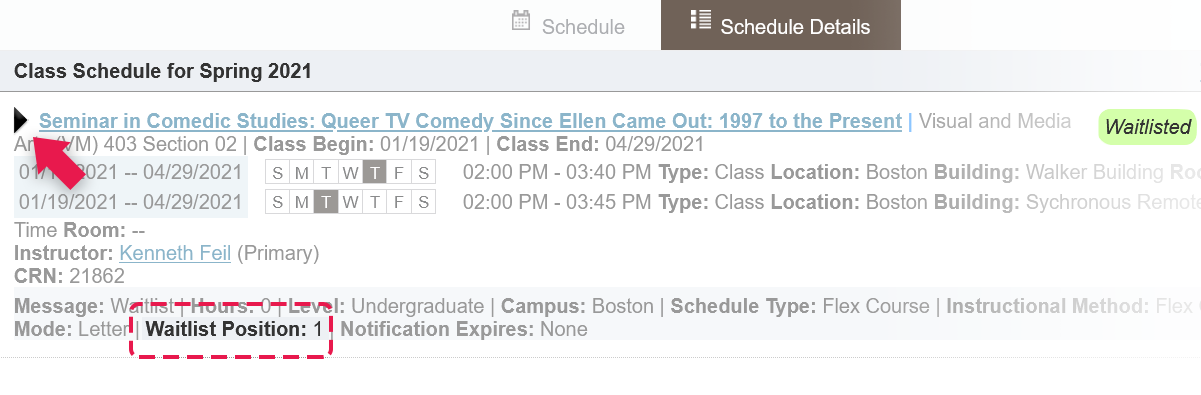 Screenshot to demonstrate where you can see your waitlist position