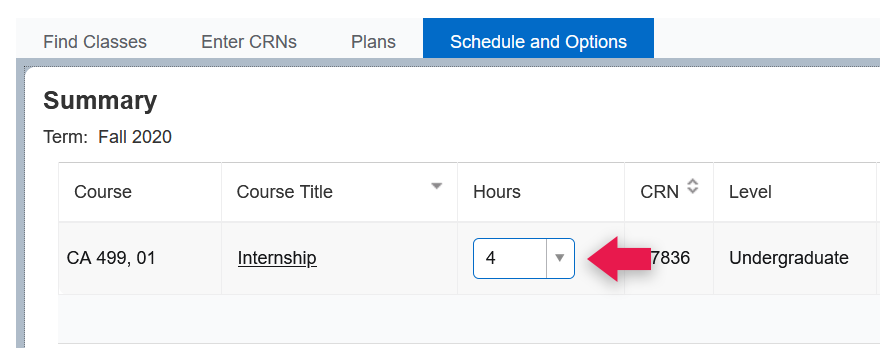 Screenshot of credit option dropdown for an internship