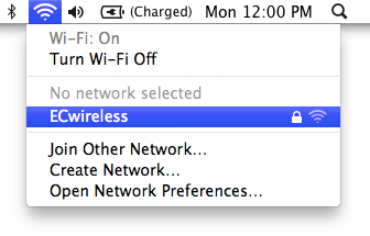 Selecting ECwireless from the Apple Wi-Fi menu
