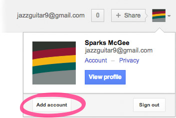 A screenshot of Sparks McGee logged into their personal Gmail account, jazzguitar9@gmail.com. The 'Add acount' button is circled below.