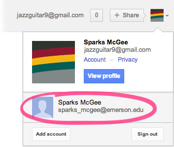 A screenshot of Sparks McGee logged into their personal Gmail account, jazzguitar9@gmail.com. Their Emerson account, sparks_mcgee@emerson.edu is circled just below. To switch to their Emerson account, Sparks would need to click on it in the circled part.