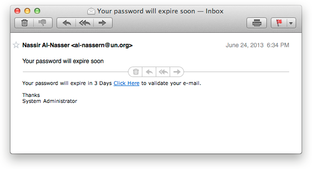 Phishing Email Example #1
