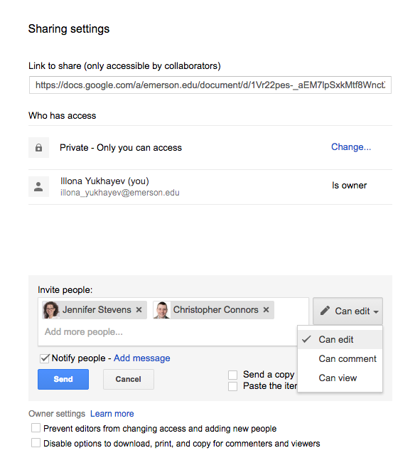 The sharing settings panel of a Google document. Individual email addresses can be added with which to share the document.