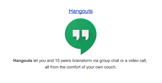 The Google Hangouts logo. A green speech bubble with quotation marks inside.